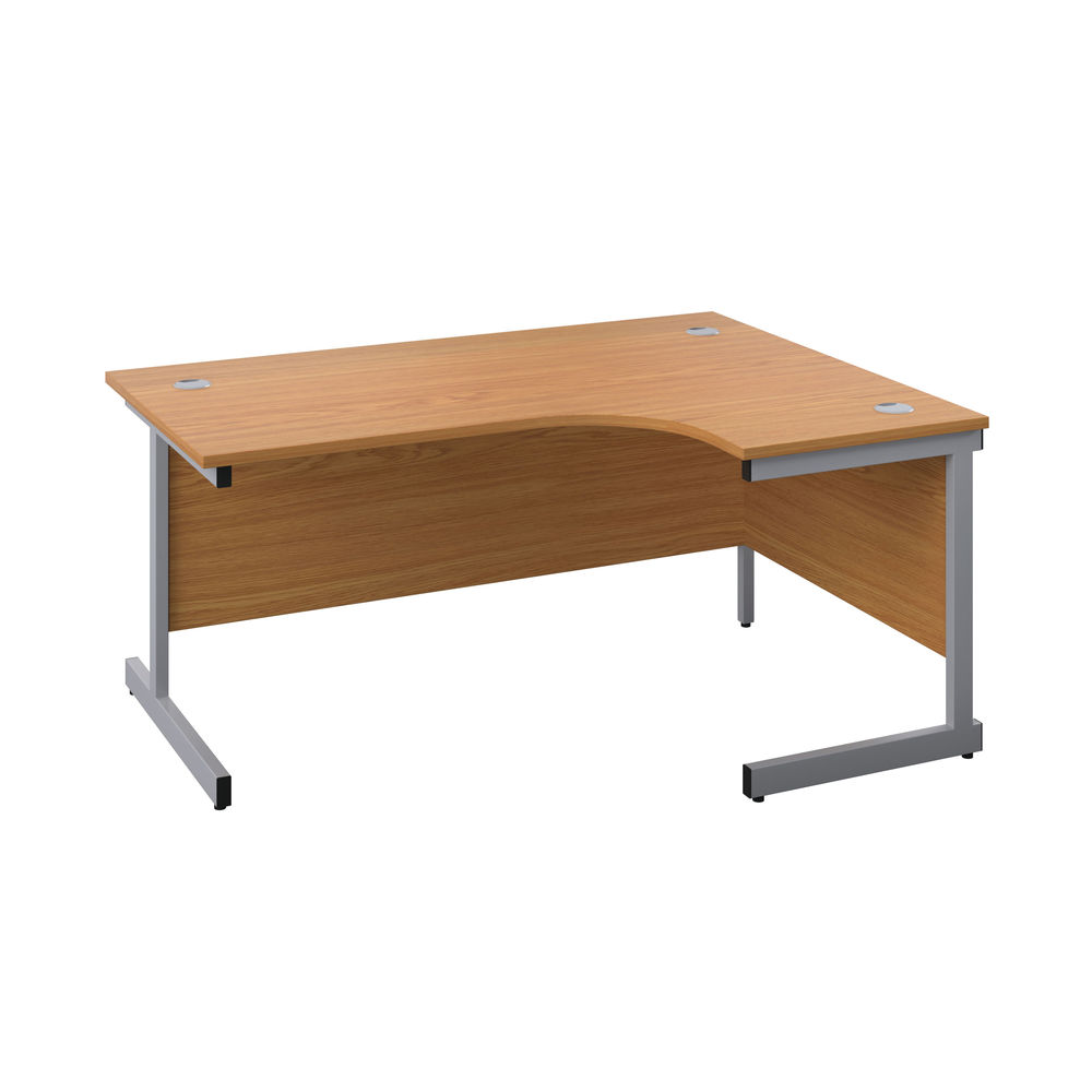 First 1800mm Nova Oak/Silver Right Hand Radial Desk