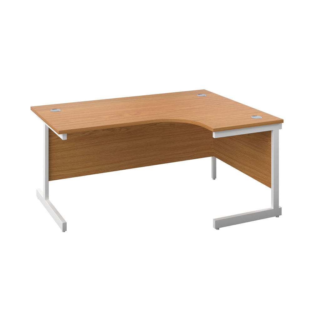 First 1800mm Nova Oak/White Right Hand Radial Desk