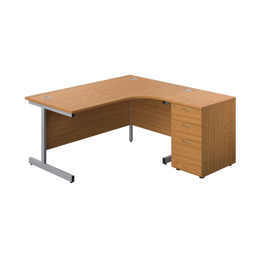 First 1600mm Nova Oak/Silver Right Hand Radial Desk with Pedestal