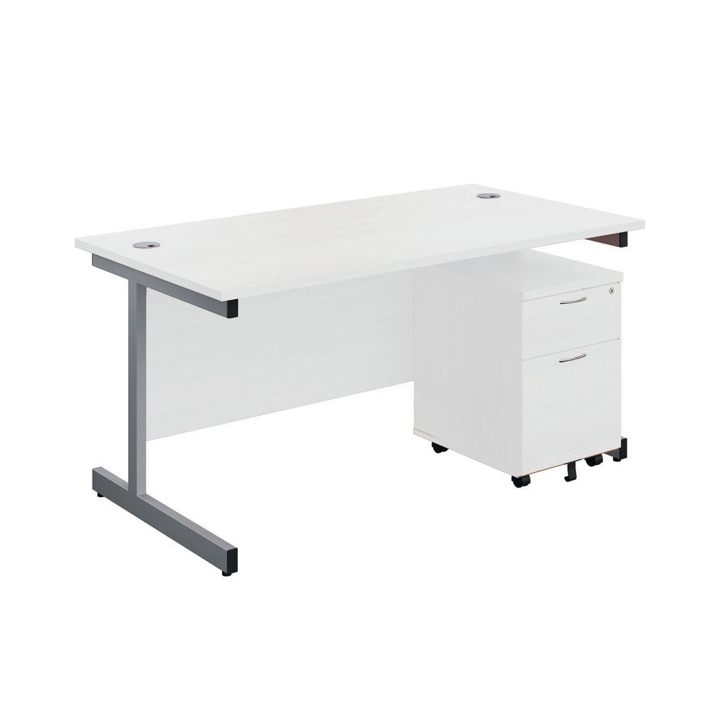 First 1600mm White/Silver 2 Drawer Pedestal Single Desk