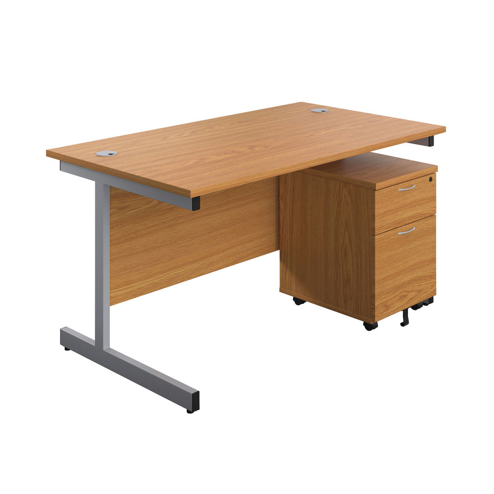 First 1600mm Nova Oak/Silver 2 Drawer Pedestal Single Desk