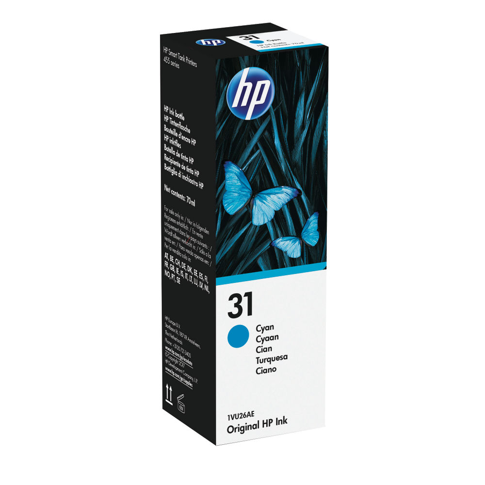 HP 31 Cyan Ink Bottle - 1VU26AE