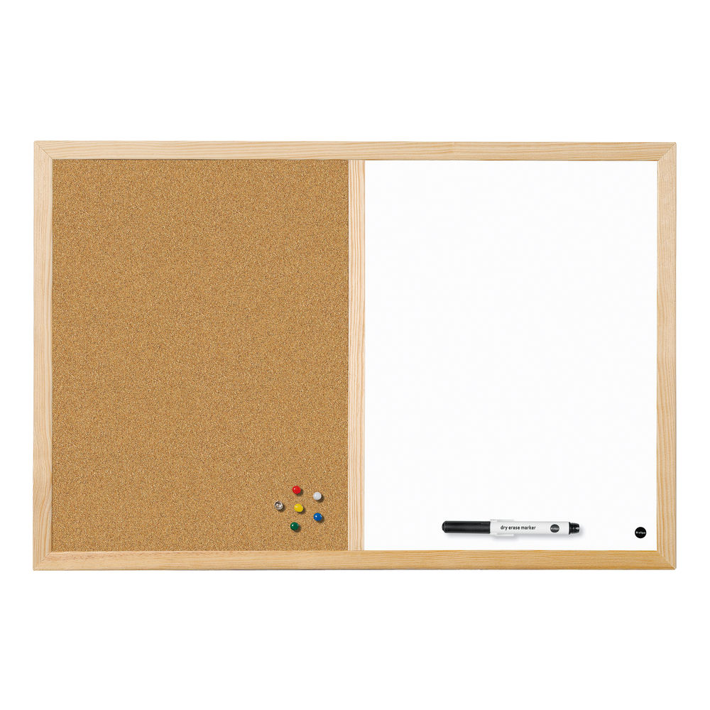 Bi-Office Cork and Drywipe Combination Board 600x400mm MX03001010
