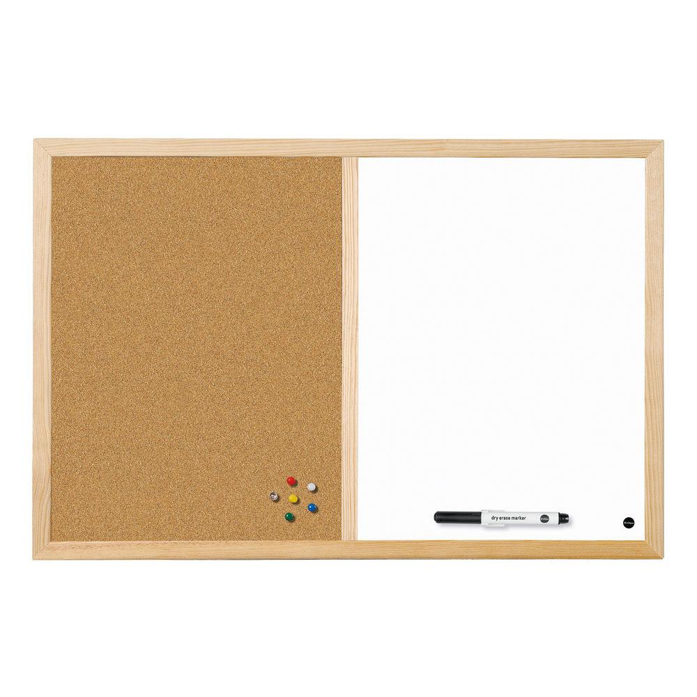 Bi-Office 600 x 400mm Wood Frame Cork/Drywipe Board - MX03001010