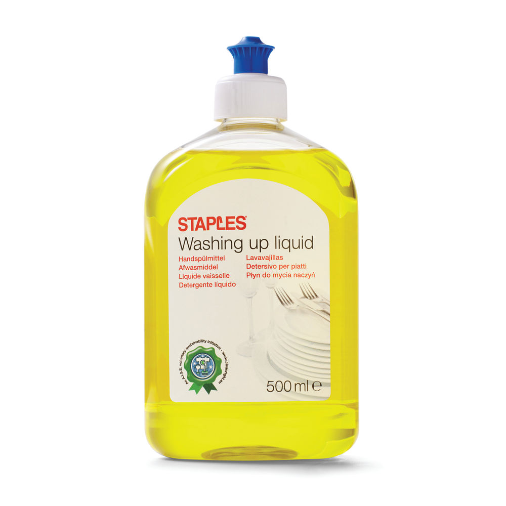 Staples Washing Up Liquid Yellow Push Up Top Citrus 500ml 8852074