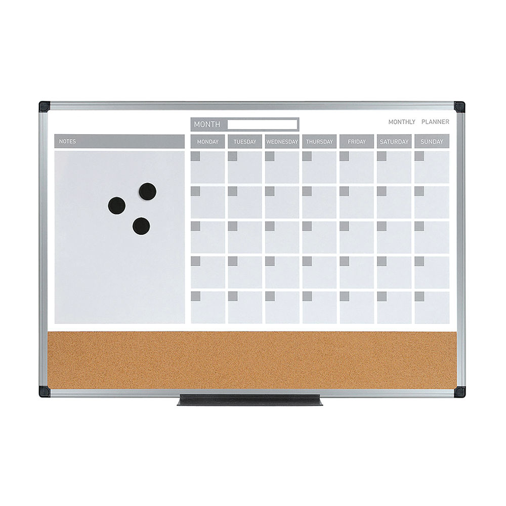 Bi-Office 3in1 Calendar Planning Board Dry Erase Cork Strip MB3507186