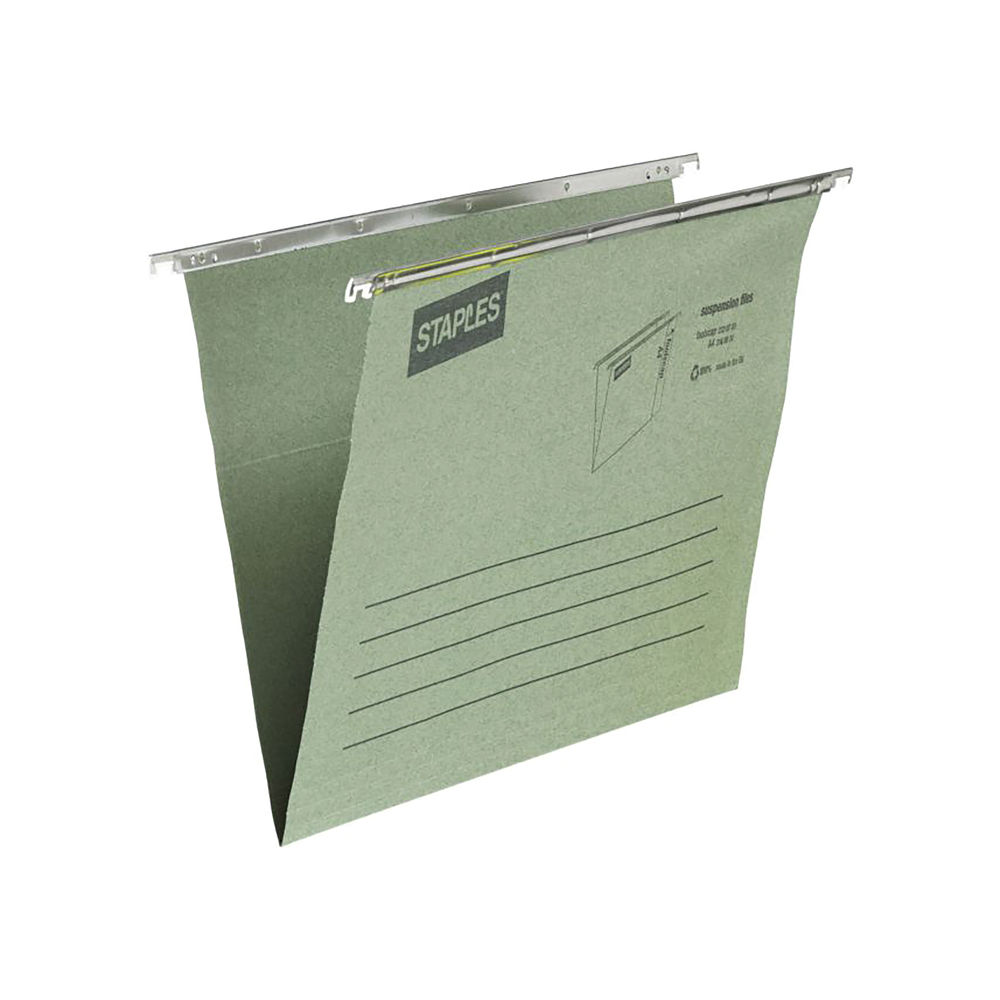 Staples Suspension Files Foolscap 360mm Green (Pack of 50) 100080660