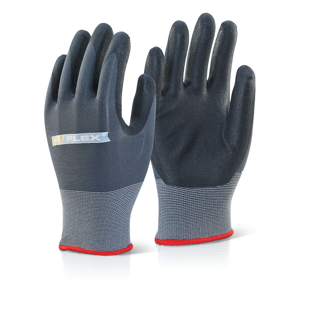 Nitrile PU Coated Gloves Knitted Nylon Medium Black/Grey BF1S