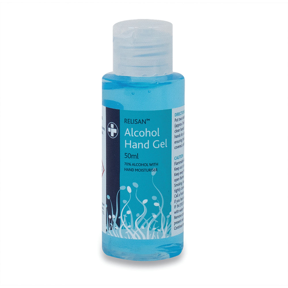 Reliance Medical Relisan 70 Percent Alcohol Hand Sanitiser Gel with Emollient 50ml 5604
