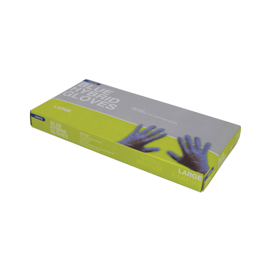 Hybrid Thermoplastic Elastomers Gloves Large Blue (Pack of 100) 33942