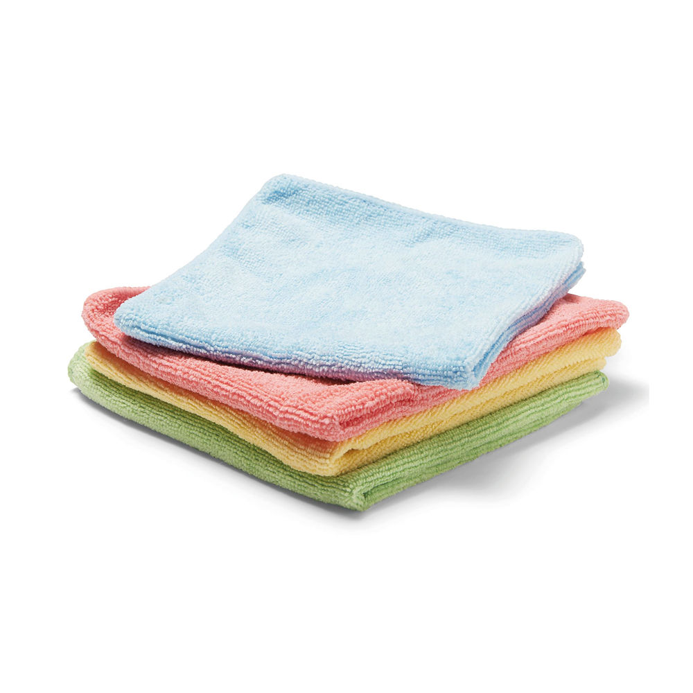 Staples Microfibre Cleaning Cloth 35x38cm 250gsm Washable Assorted (Pack of 4) 8852260
