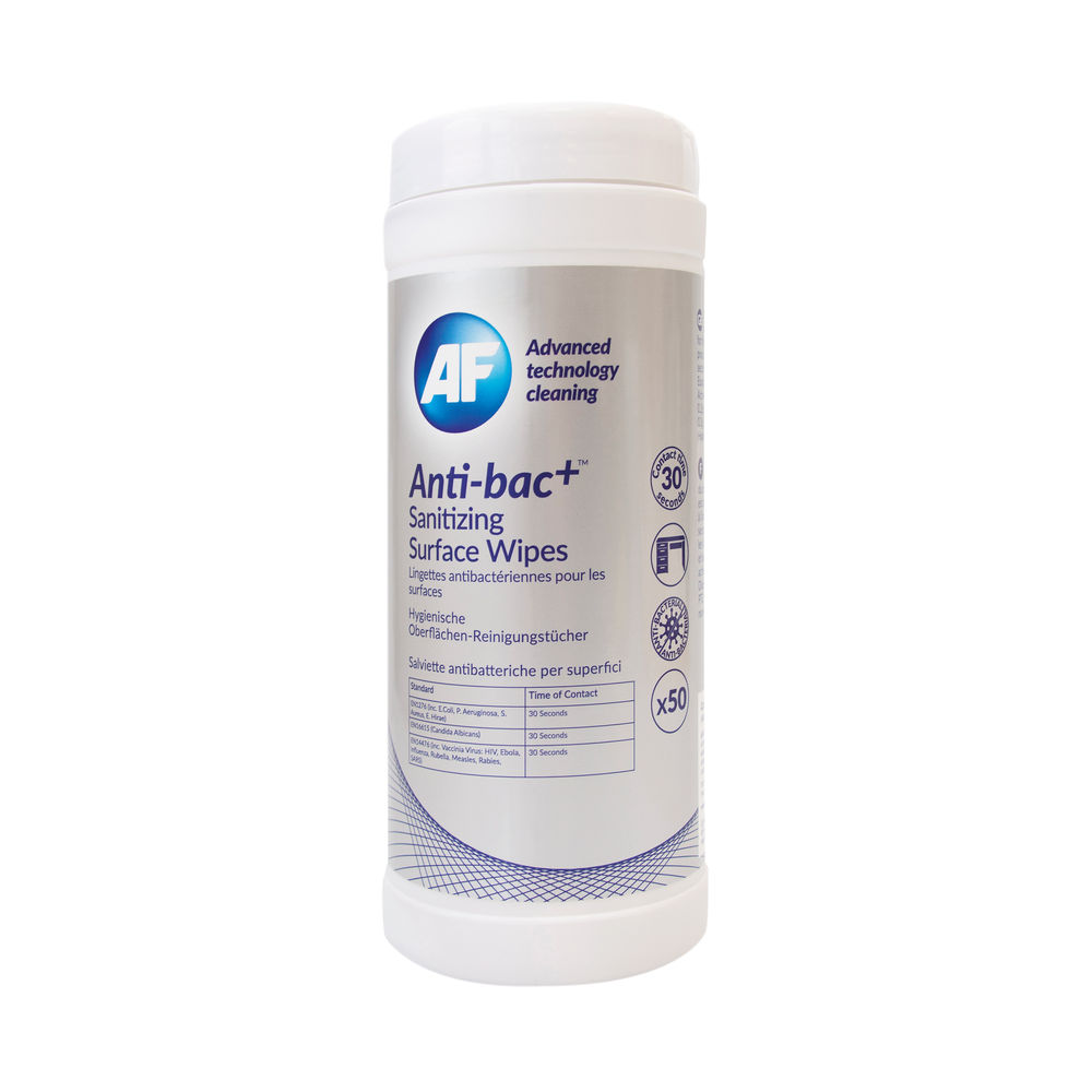 AF Antibacterial Sanitizing Surface Wipes (Pack of 50) ABSCW50T