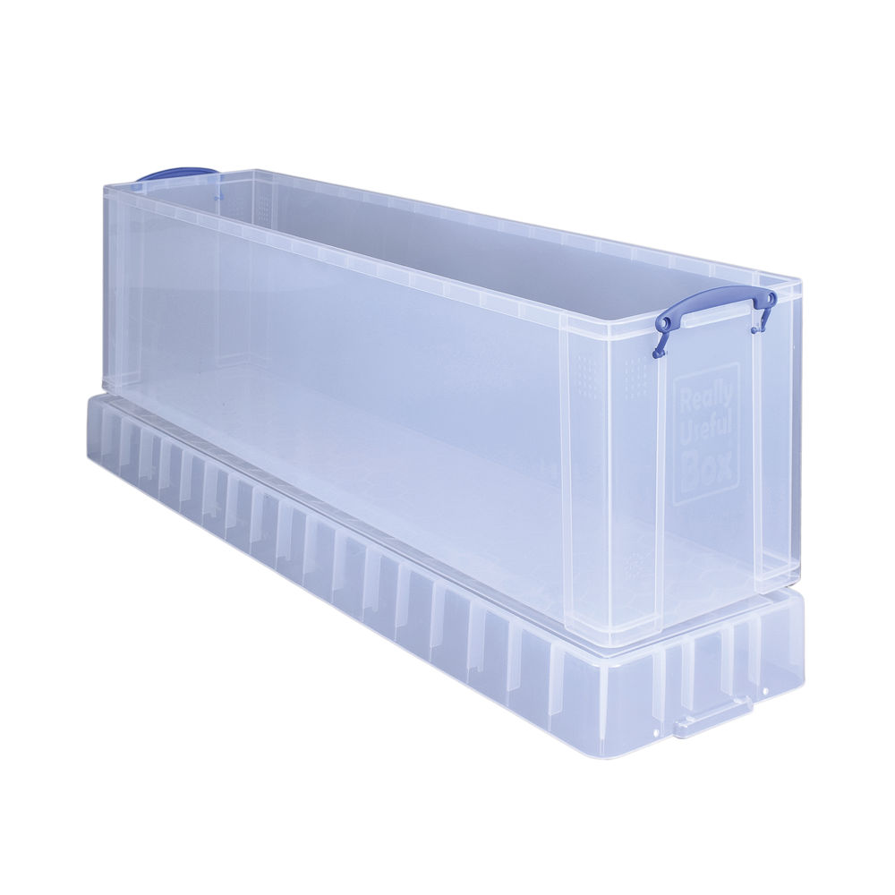 Really Useful 77L Plastic Storage Box and Lid Clip Lock Handles Clear 1200x270x360mm Stackable 77CCB