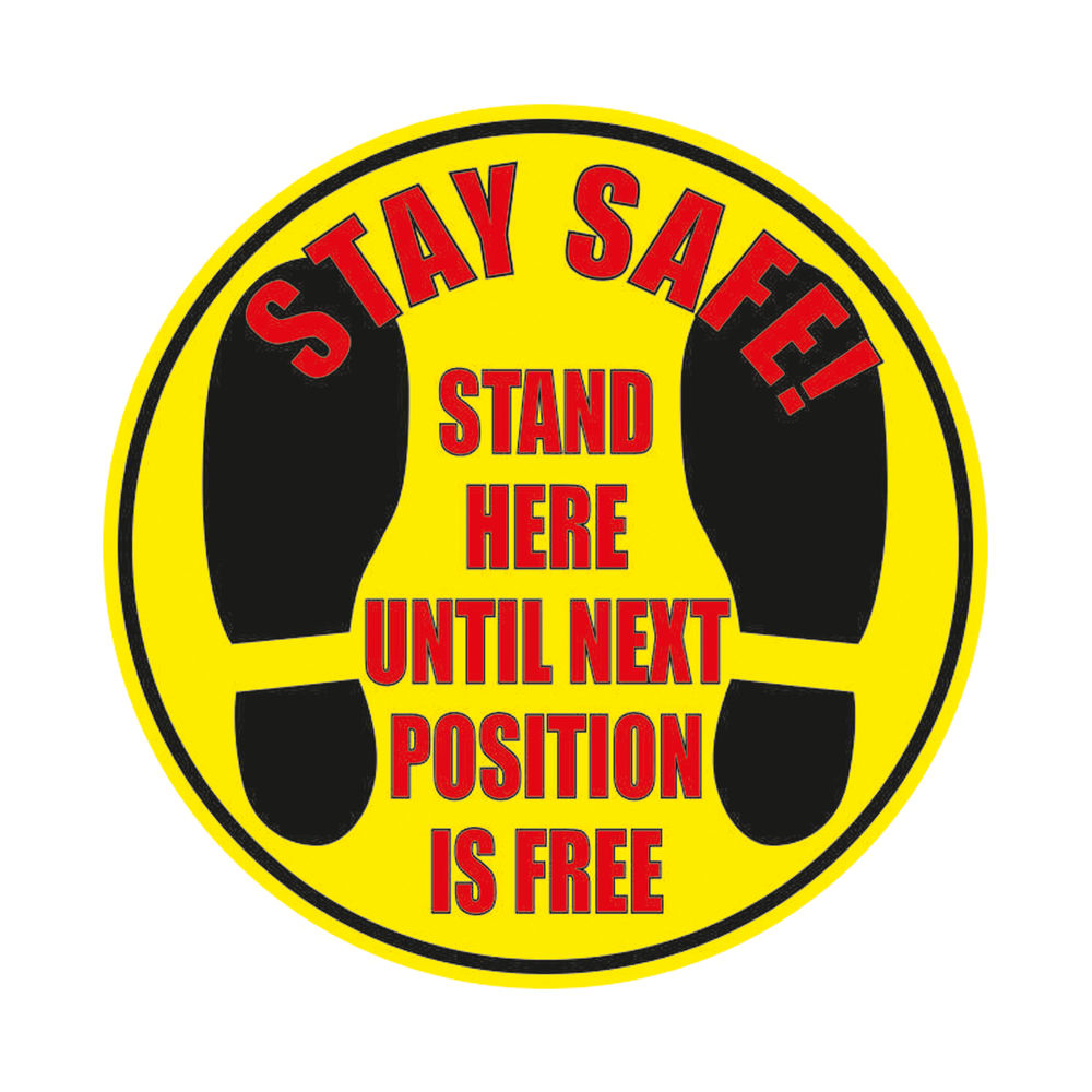 Safety Sign Social Distance Floor Stickers Yellow (Pack of 2) FGCORONAQ-N