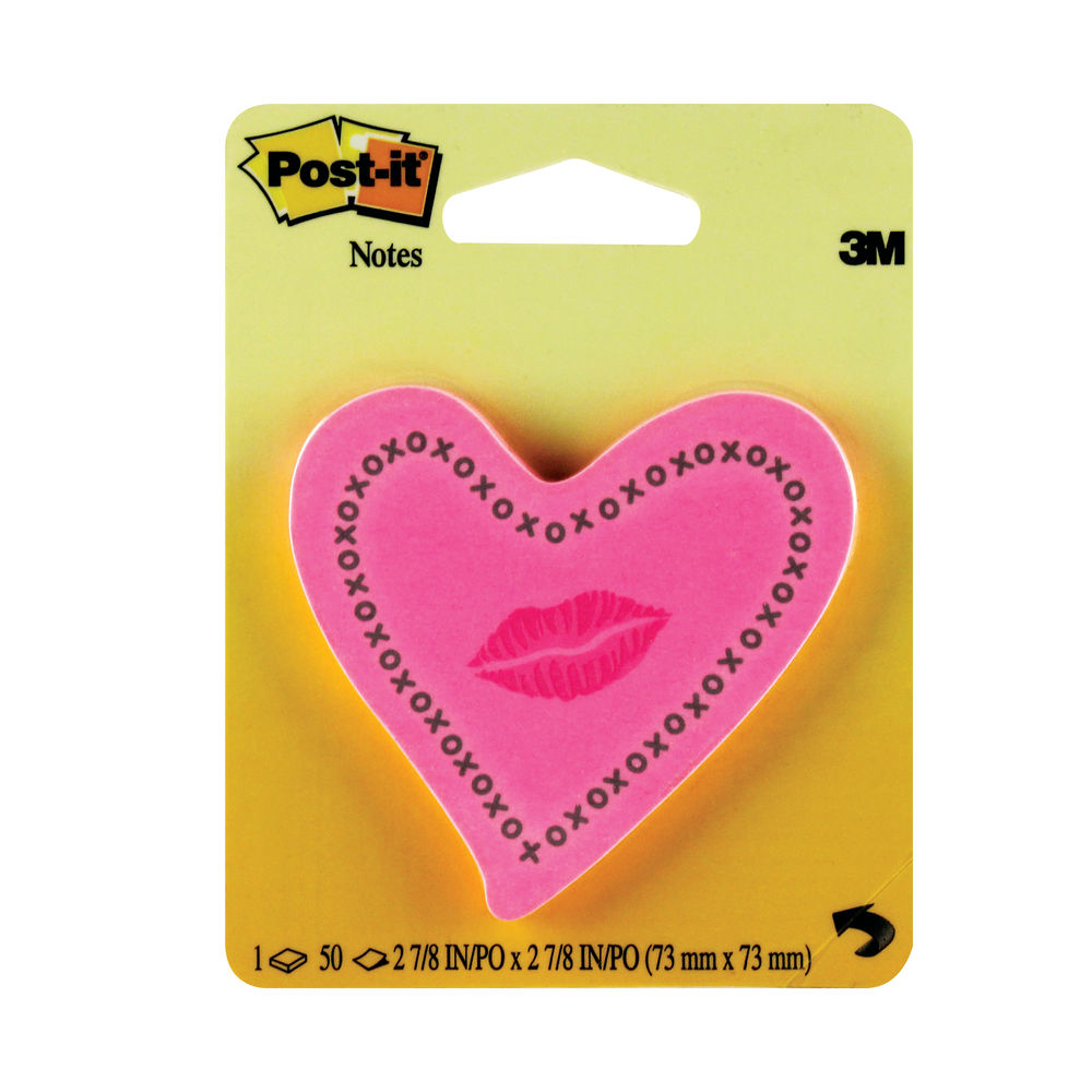 Post-it 73 x 73mm Heart with Lips Notes | 6370-HTL
