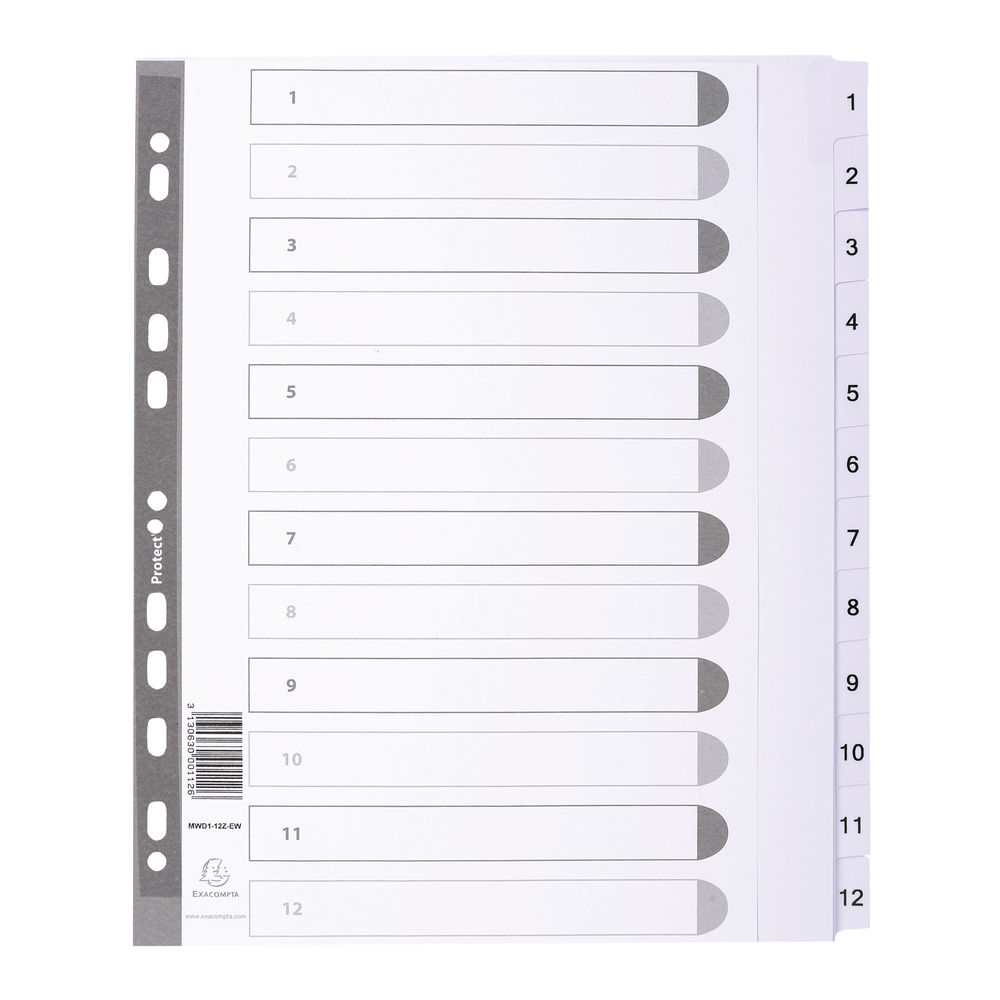 Guildhall White A4 Maxi Mylar 1-12 Dividers - MWD1-12Z-EW