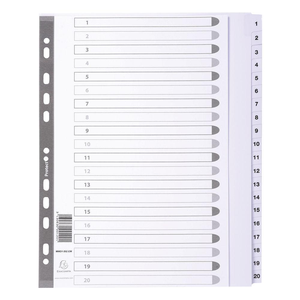 Exacompta Guildhall Mylar Index 1-20 A4 Maxi White MWD1-20Z-EW