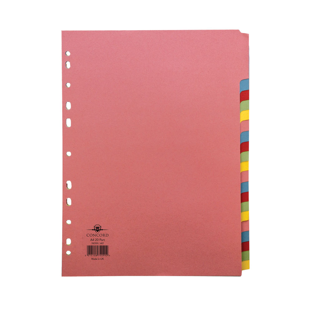 Concord Divider 20-Part A4 160gsm Multicoloured 74099/J40