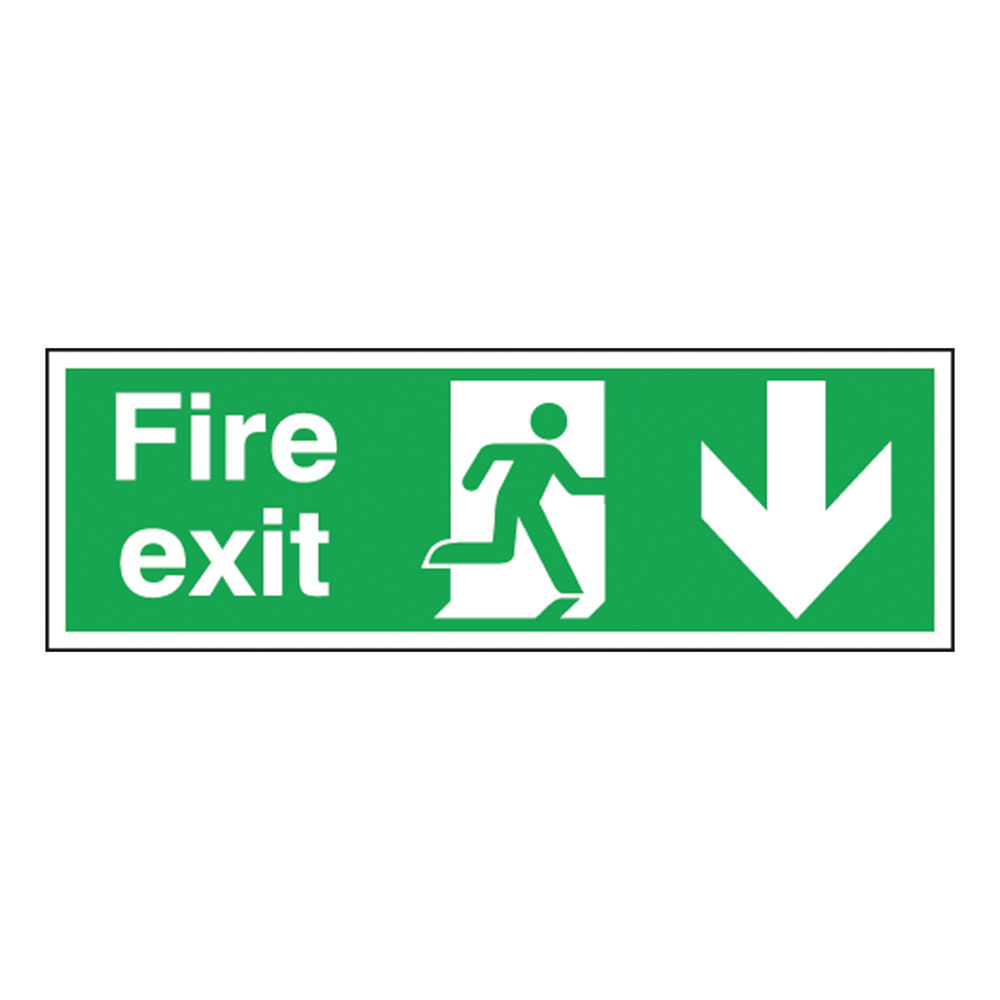 Fire Exit 150 x 450mm Self-Adhesive Running Man Arrow Down Safety Sign - E100A/S