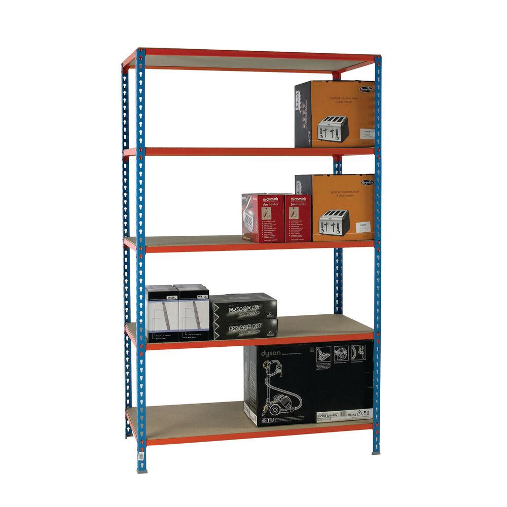 W1200 x D300mm Blue Standard Duty Painted Orange Shelf Unit -378983