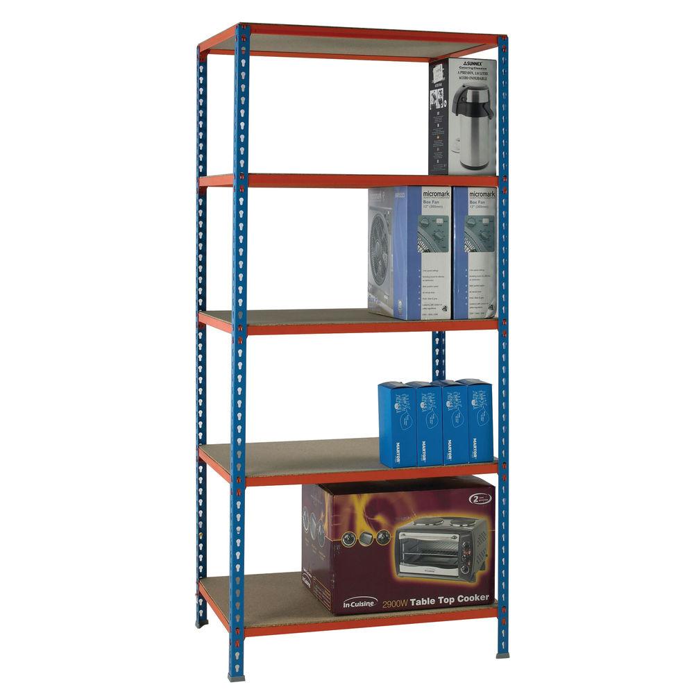 W900 x D500mm Blue Standard Duty Painted Orange Shelf Unit - 378970