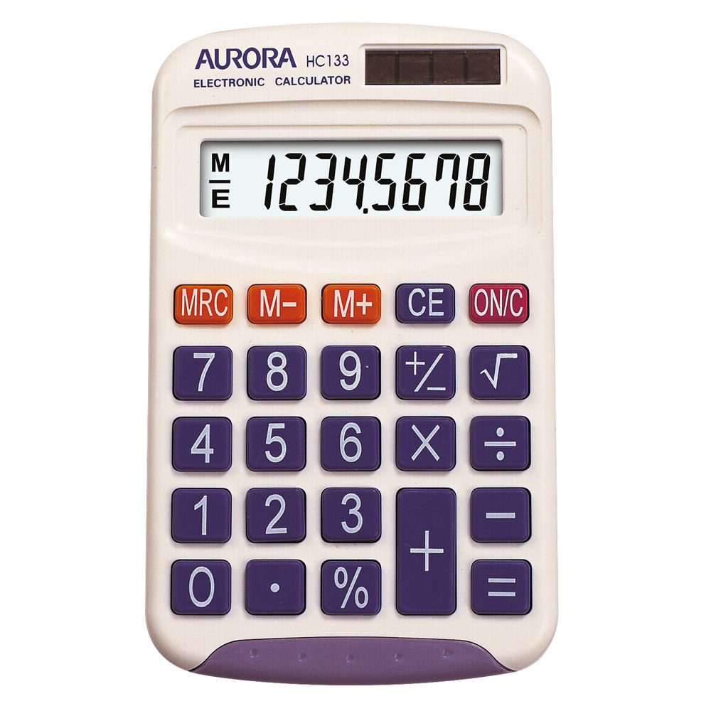 Aurora HC133 Pocket Calculator White HC133