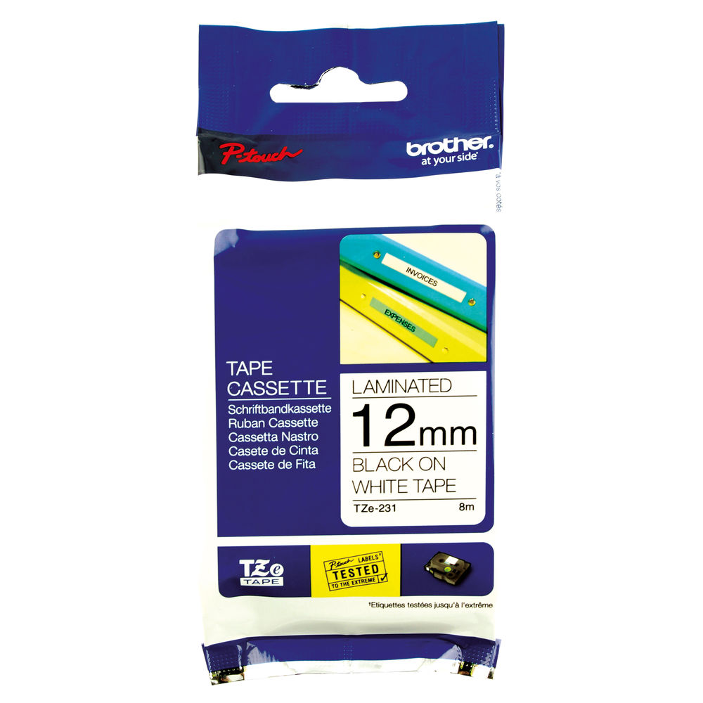 Brother 12mm x 8m Black on White TZe Labelling Tape - TZE231
