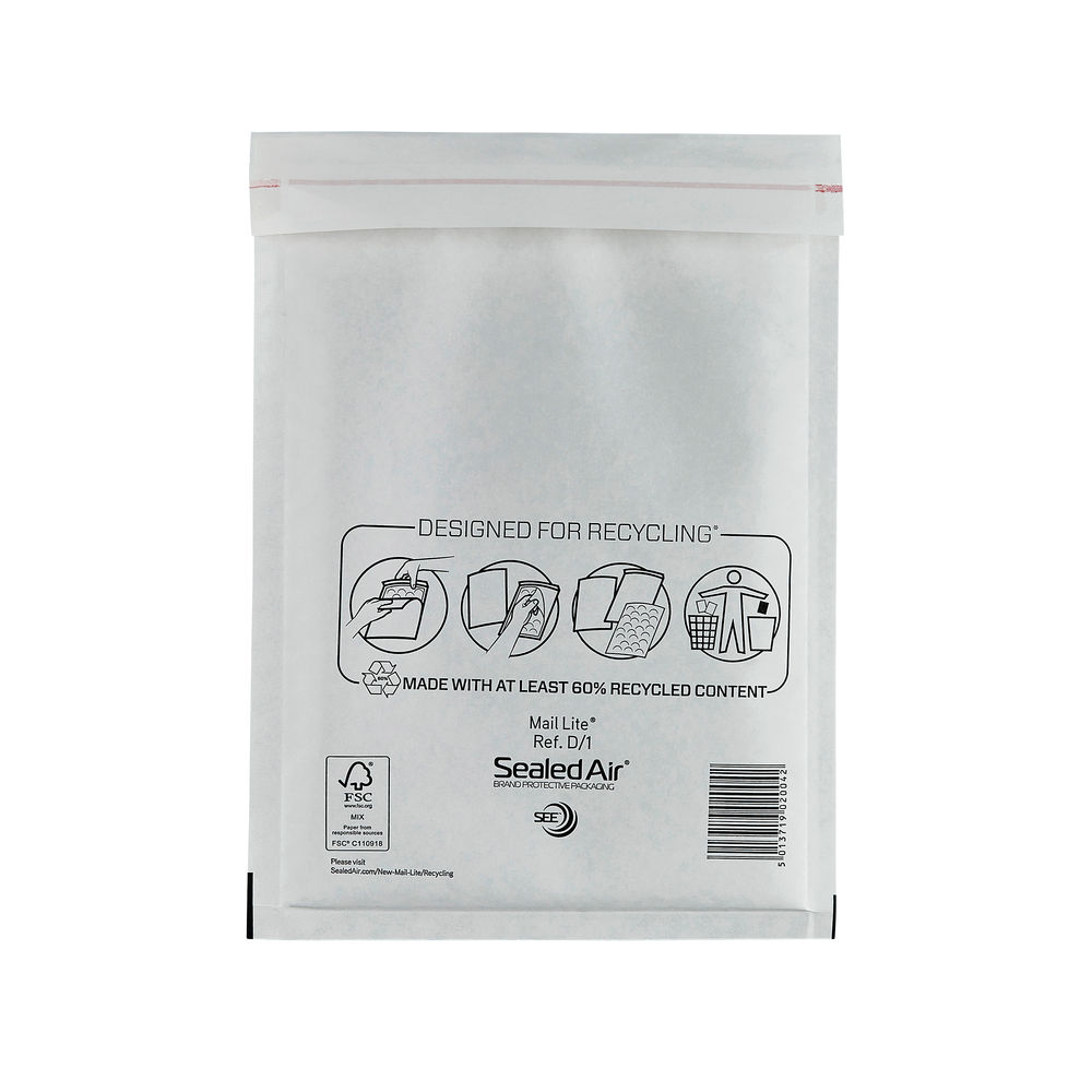 Mail Lite D/1 180 x 260mm Bubble Lined Postal Bags, Pack of 100 - MLW D/1
