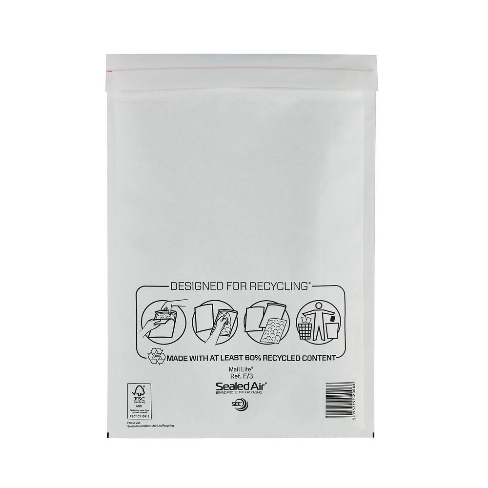 Mail Lite Size F/3 White Bubble-Lined Envelopes, Pack of 50 - 103005501