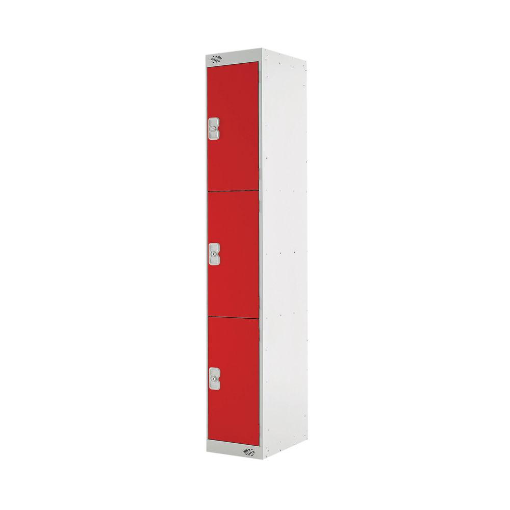Three Compartment D300mm Red Express Standard Locker - MC00144