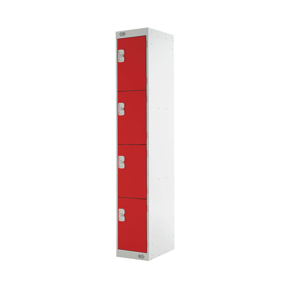 Four Compartment D300mm Red Express Standard Locker - MC00147