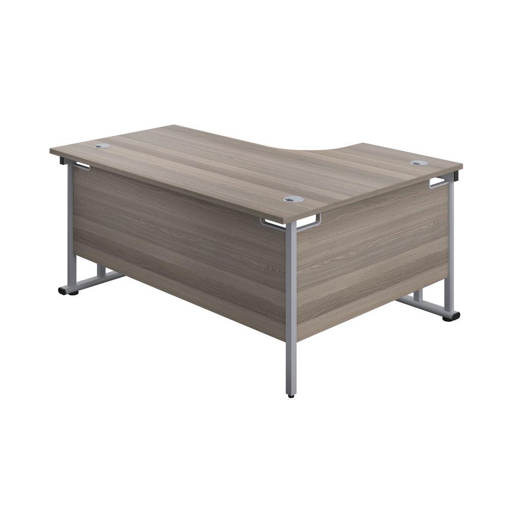 Jemini 1600mm Grey Oak/Silver Cantilever Left Hand Radial Desk