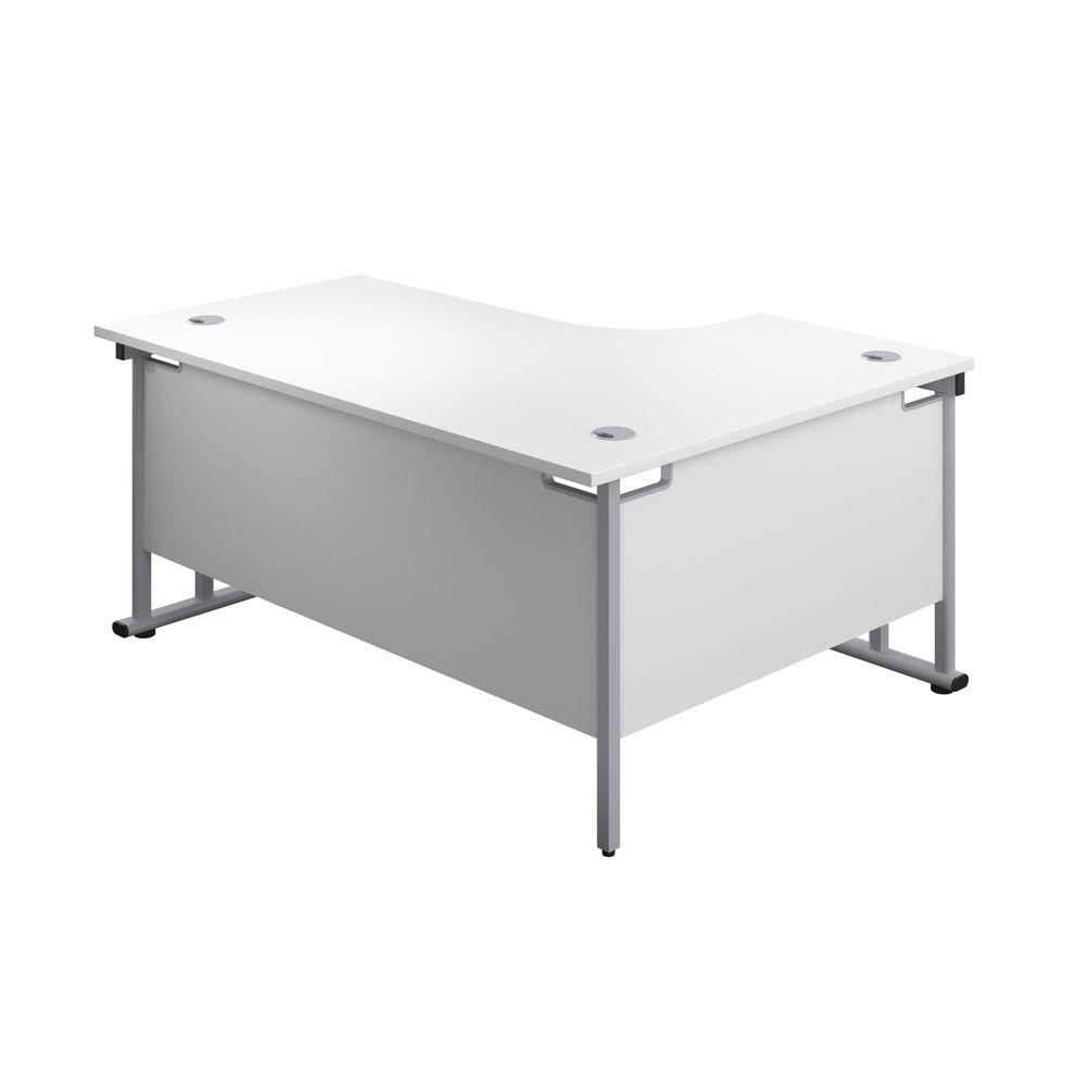 Jemini 1600mm White/Silver Cantilever Left Hand Radial Desk