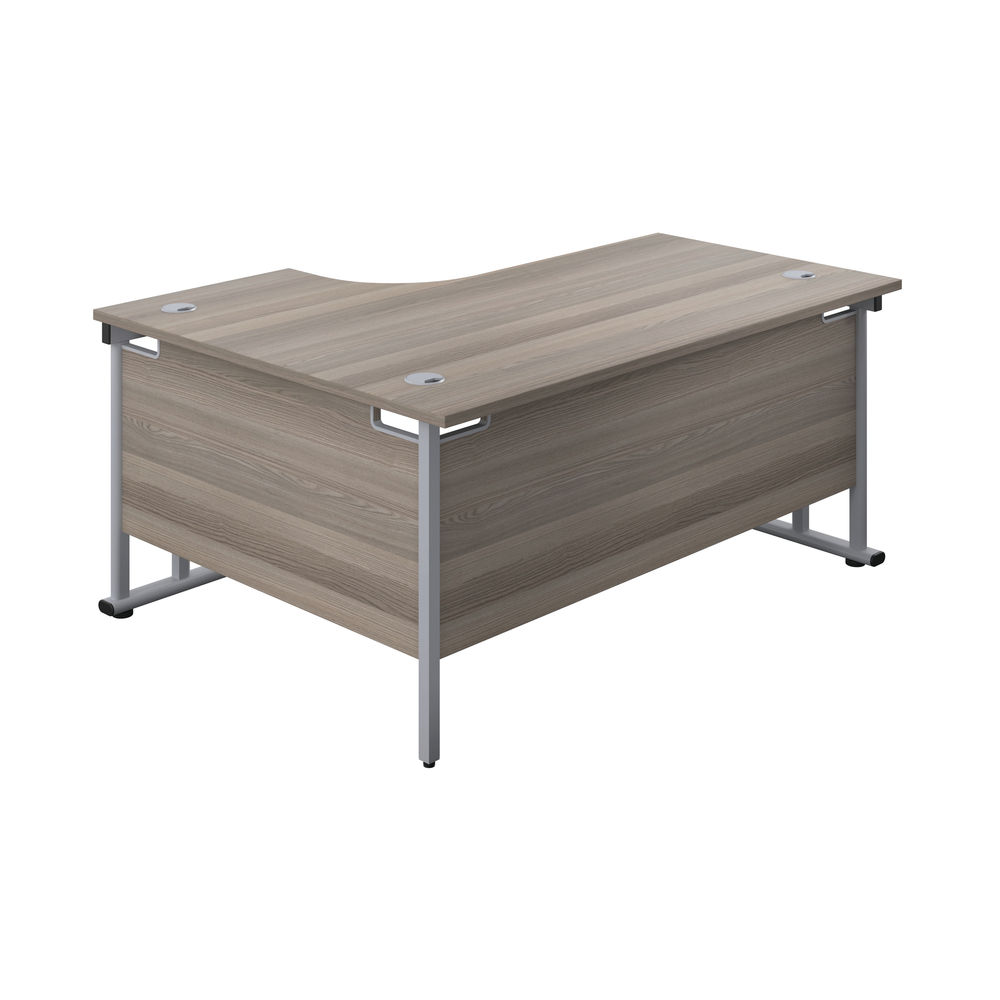 Jemini 1600mm Grey Oak/Silver Cantilever Right Hand Radial Desk