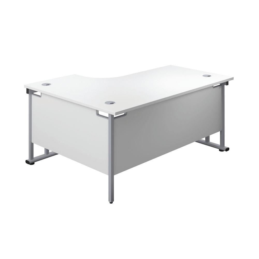 Jemini 1600mm White/Silver Cantilever Right Hand Radial Desk
