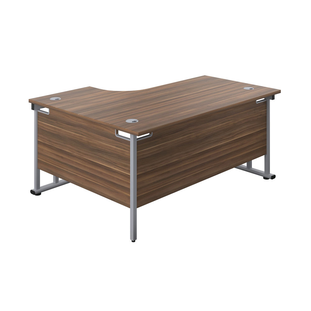 Jemini 1600mm Dark Walnut/Silver Cantilever Right Hand Radial Desk