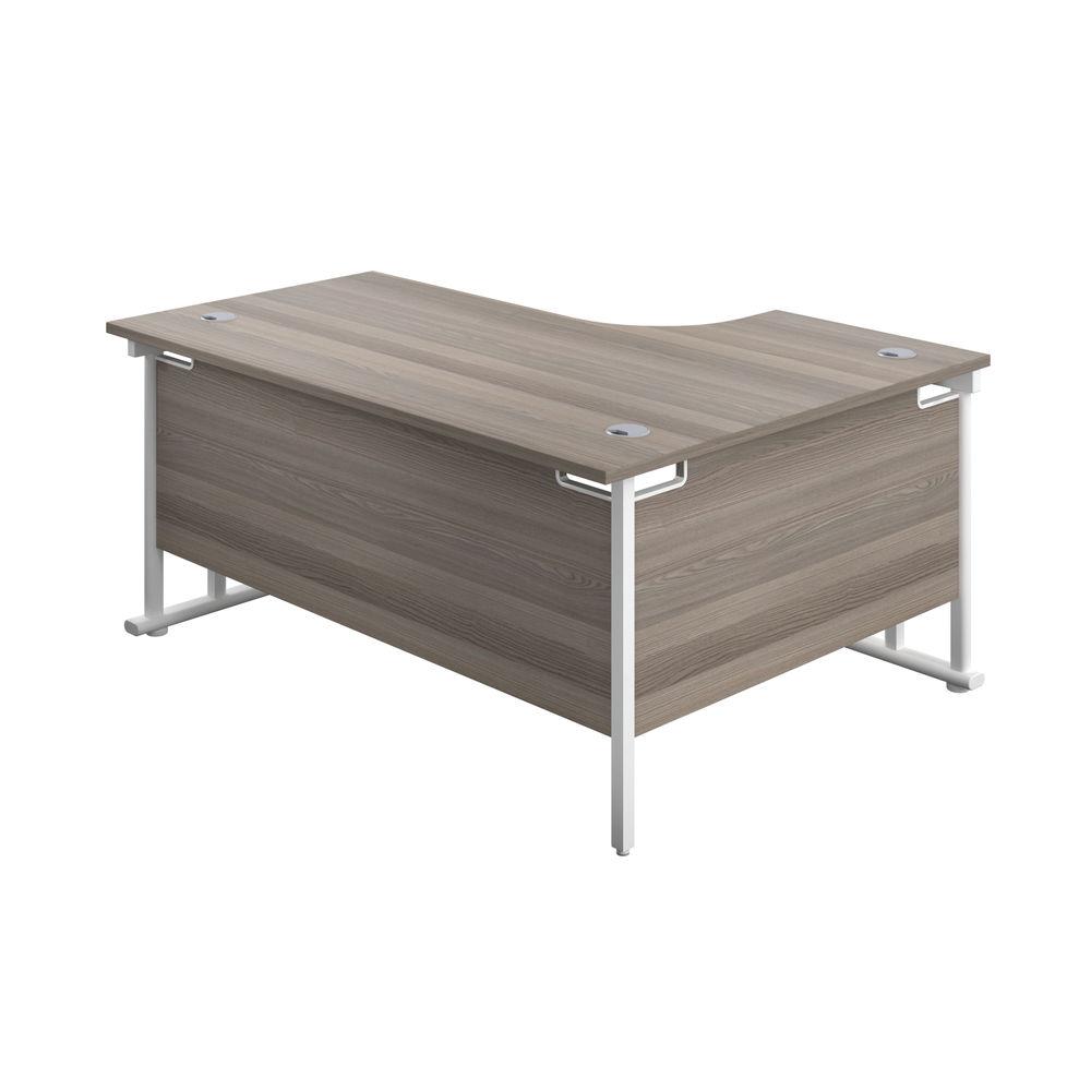 Jemini 1600mm Grey Oak/White Cantilever Left Hand Radial Desk