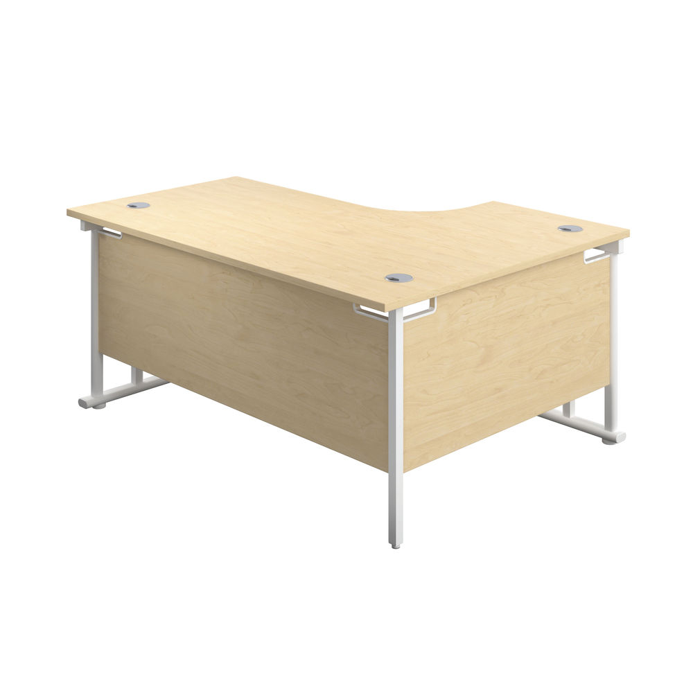 Jemini 1600mm Maple/White Cantilever Left Hand Radial Desk