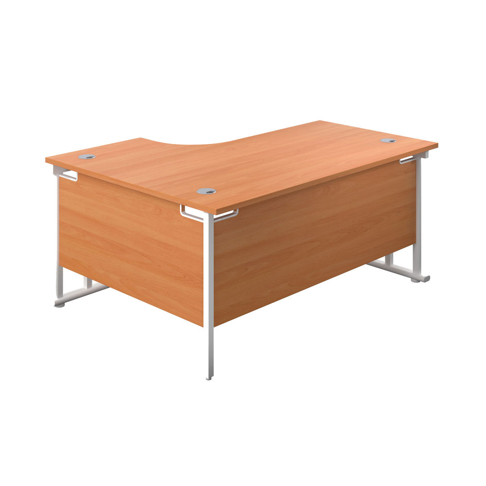 Jemini 1600mm Beech/White Cantilever Right Hand Radial Desk