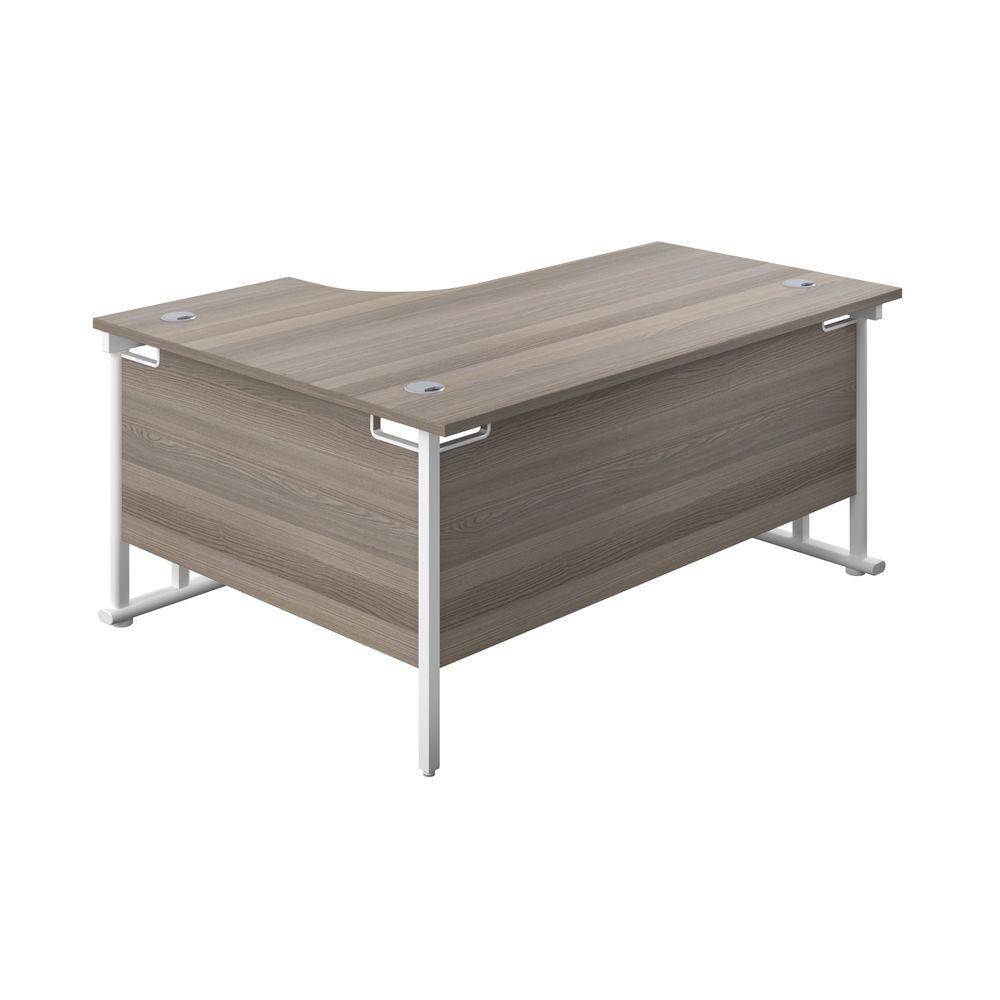 Jemini 1600mm Grey Oak/White Cantilever Right Hand Radial Desk
