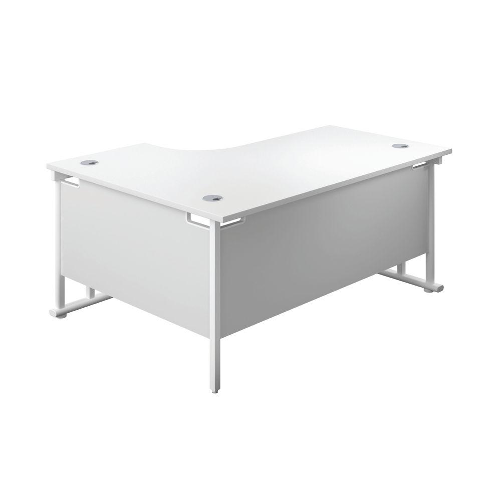 Jemini 1600mm White/White Cantilever Right Hand Radial Desk