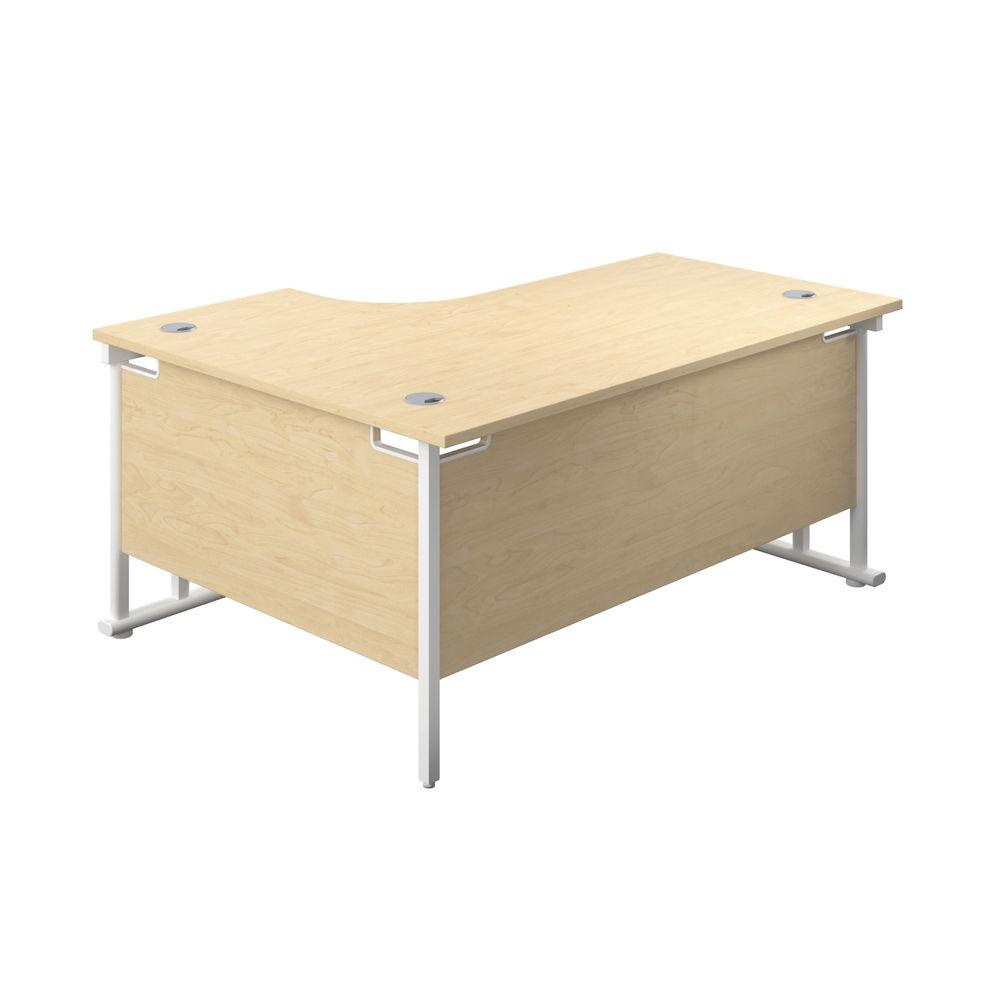 Jemini 1600mm Maple/White Cantilever Right Hand Radial Desk