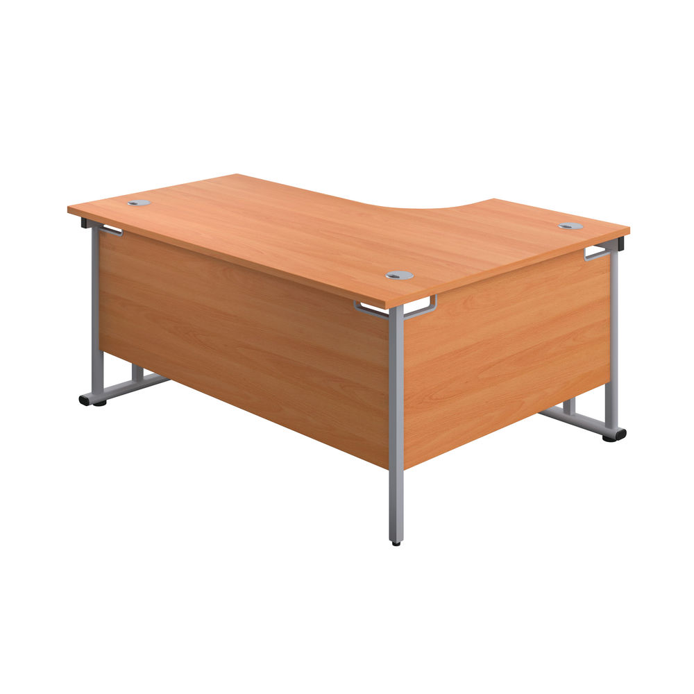 Jemini 1800mm Beech/Silver Cantilever Left Hand Radial Desk