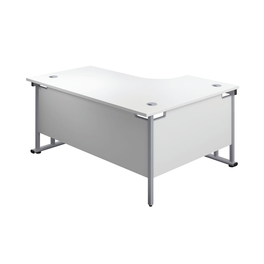 Jemini 1800mm White/Silver Cantilever Left Hand Radial Desk