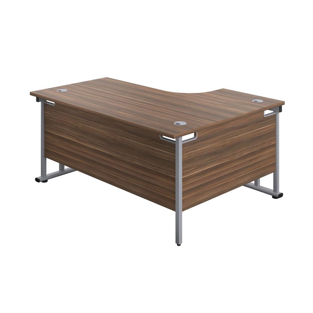 Jemini 1800mm Dark Walnut/Silver Cantilever Left Hand Radial Desk
