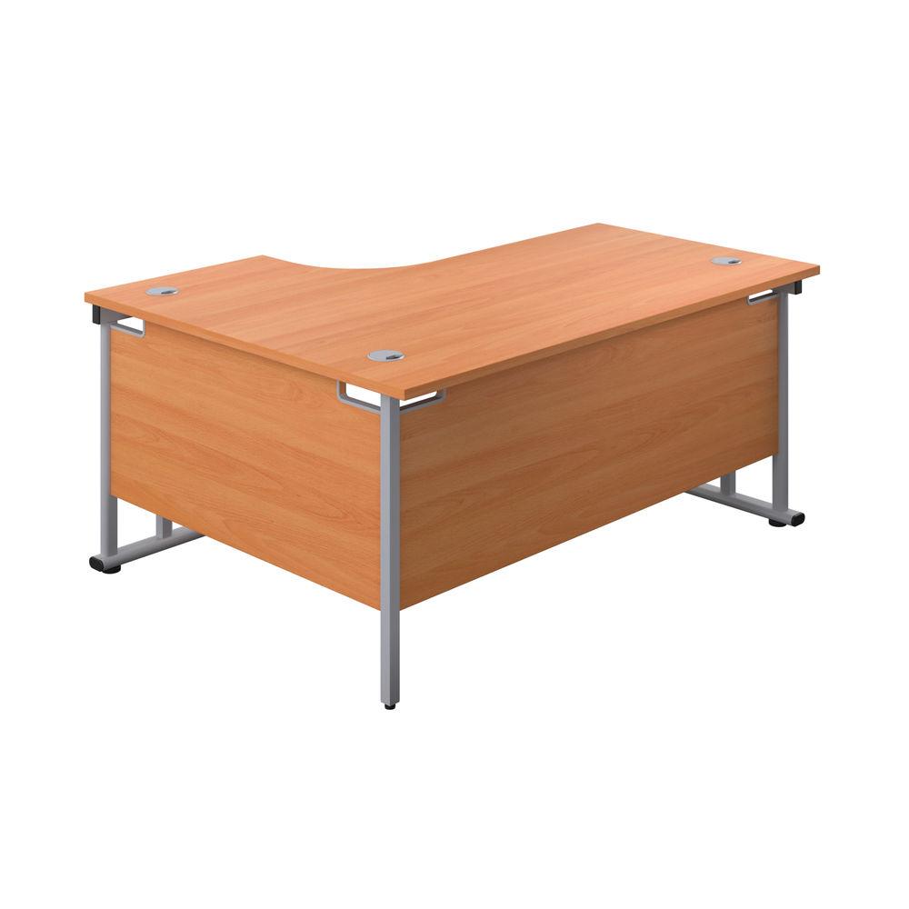 Jemini 1800mm Beech/Silver Cantilever Right Hand Radial Desk
