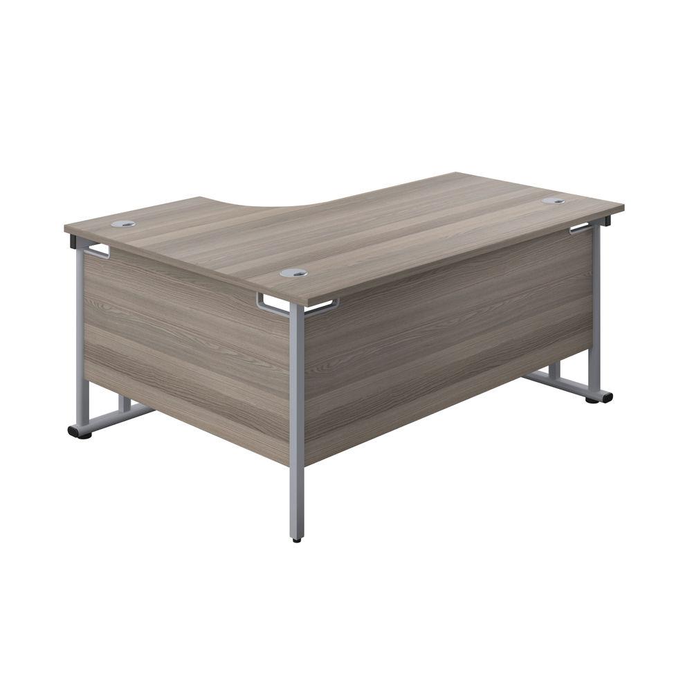 Jemini 1800mm Grey Oak/Silver Cantilever Right Hand Radial Desk