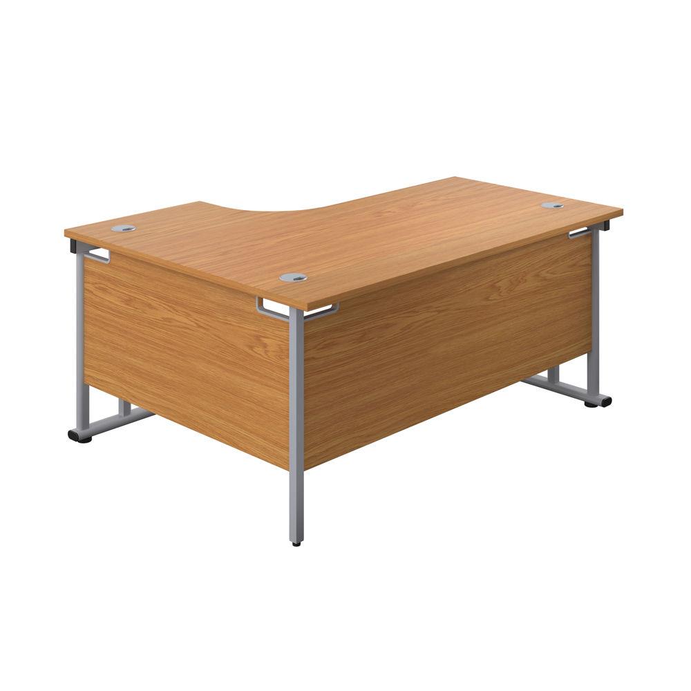 Jemini 1800mm Nova Oak/Silver Cantilever Right Hand Radial Desk