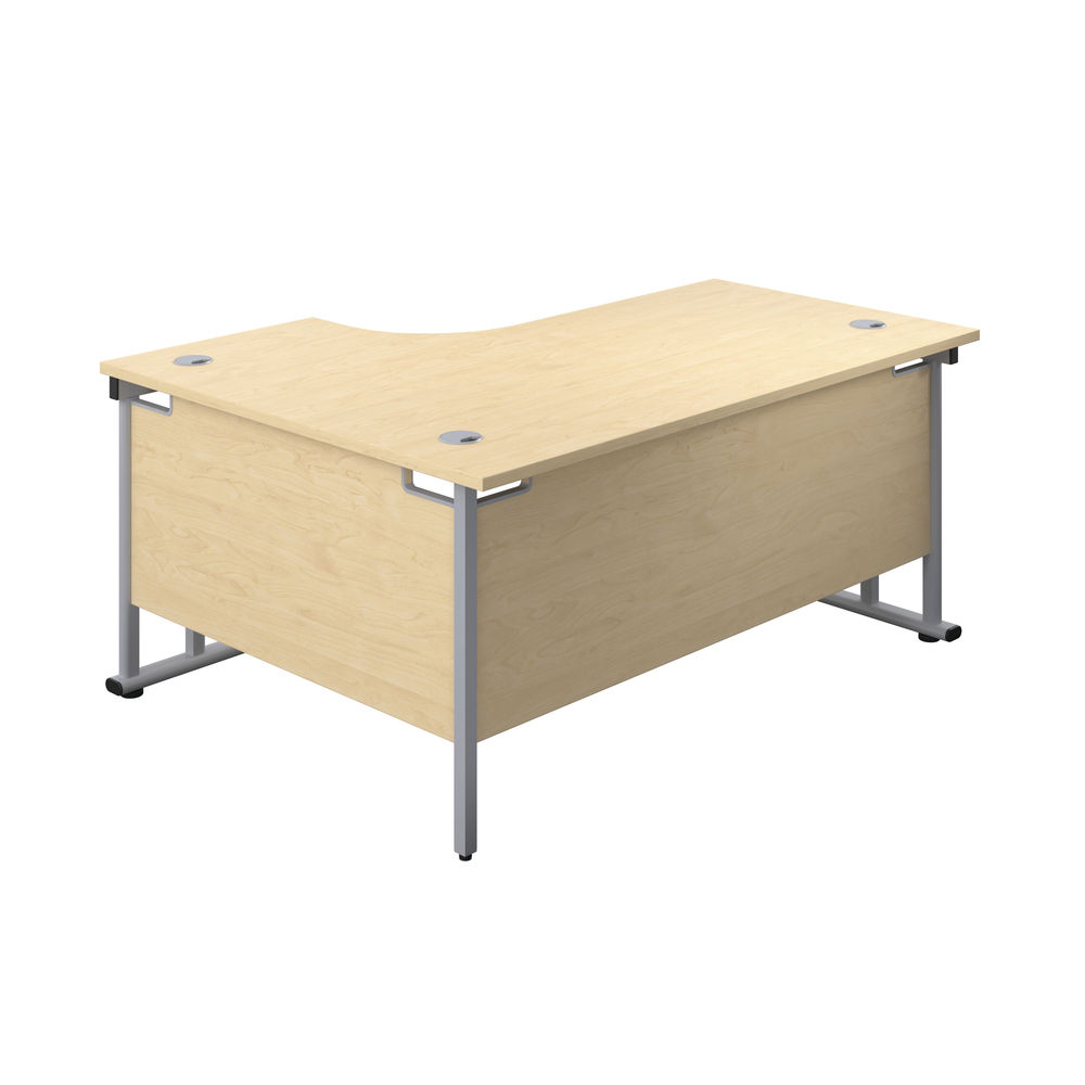 Jemini 1800mm Maple/Silver Cantilever Right Hand Radial Desk
