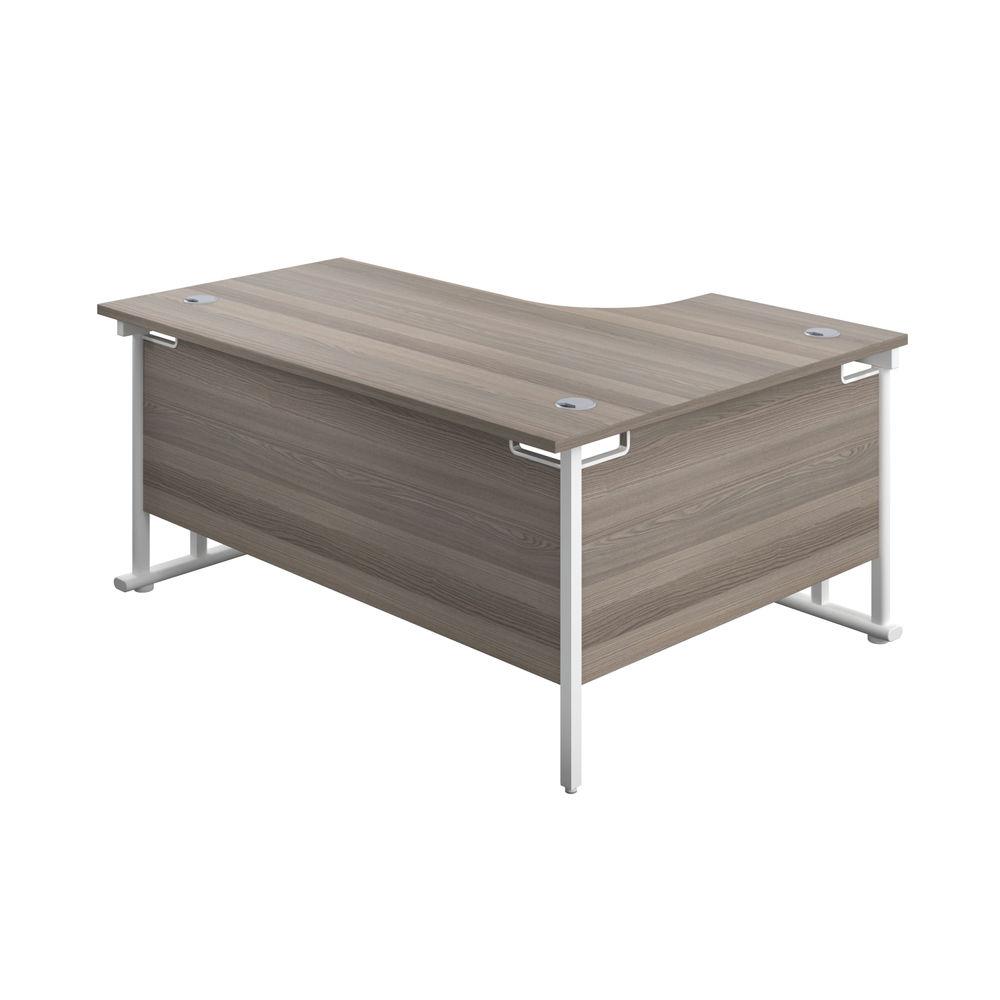 Jemini 1800mm Grey Oak/White Cantilever Left Hand Radial Desk